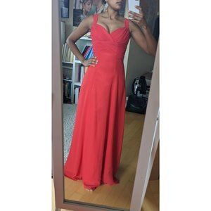 Red Custom Made Gown - Size 0